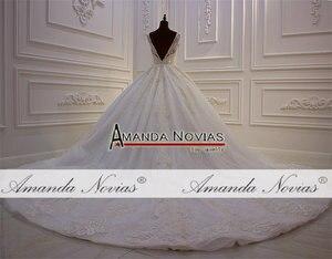 Image 3 - אמנדה Novias מותג למעלה איכות סדר מותאם אישית חתונת שמלת העבודה האמיתית תמונה 2020