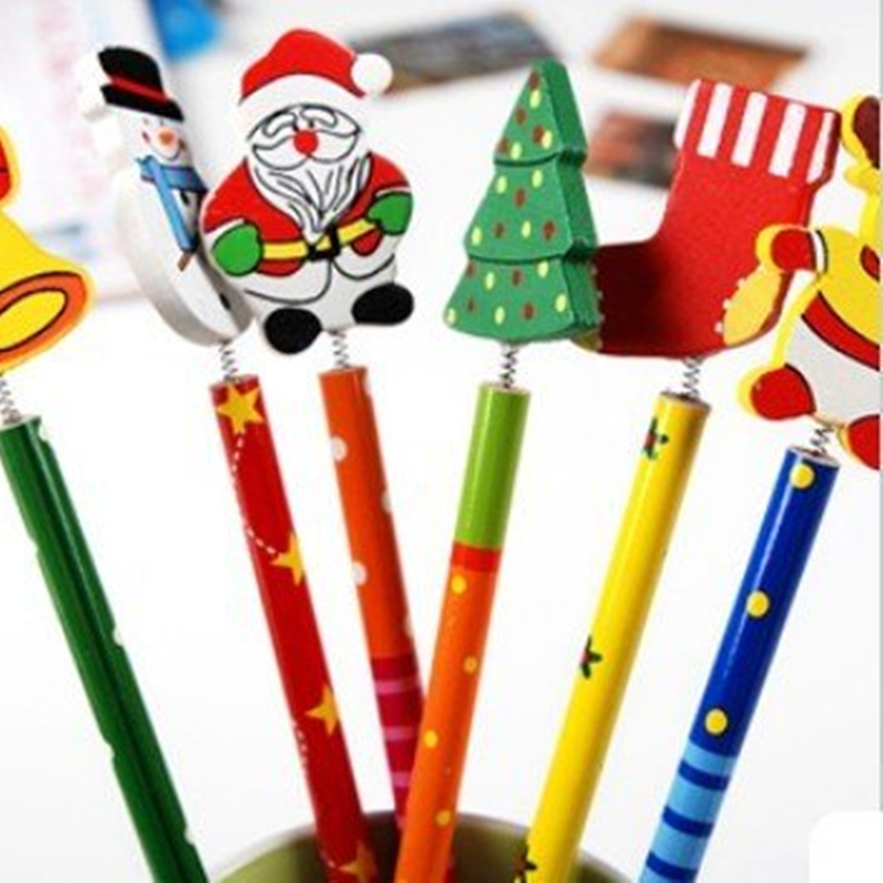 100 pcs/lot Christmas Wooden Pencils Novelty Cartoon Stationery school pencil set Christmas Gifts Pencils & Writing Supplies