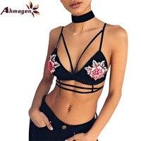 Ahmagen Sexy Black White Push Up Bra Women Lingerie Embroidery Strappy Bras Deep V Wirefree Bralette