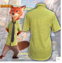 2016 New Movie Zootopia Cosplay Nick Wilde Hight-Quality Print Shirt + Tie+Pants For Men and Women Halloween Cospaly Clothing