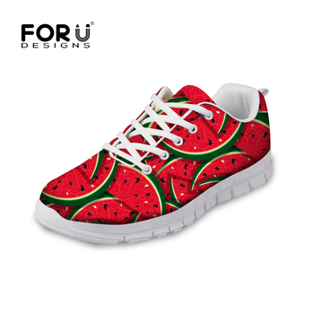 doginthehole Running Shoes Air Mesh Flats Sneaker for Women Watermelon Fruit Pattern Outdoor Sport Shoes Ladies Summer Walking