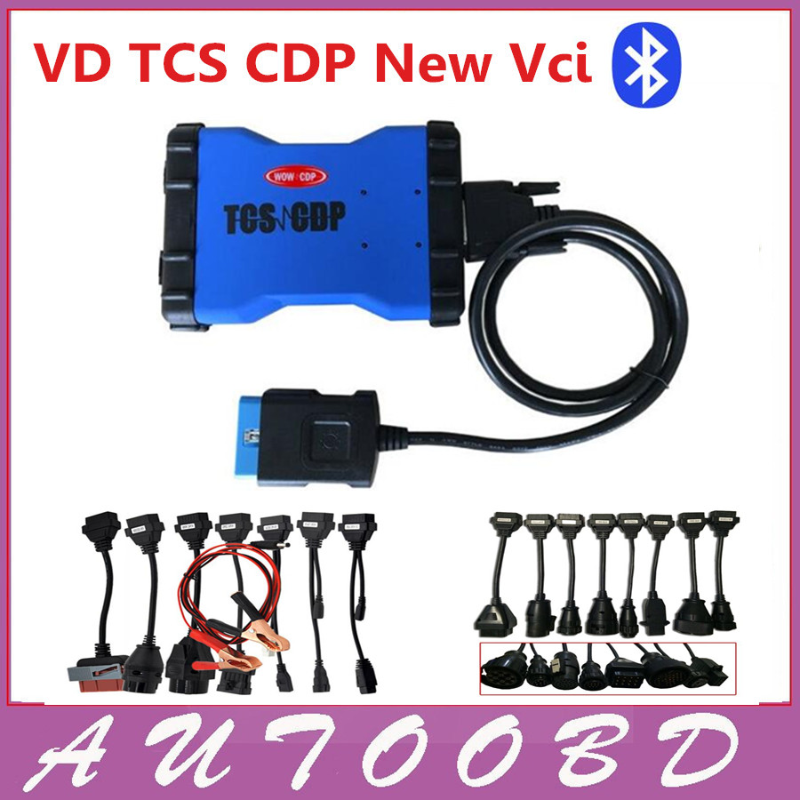 New Blue VD TCS CDP PRO Plus with Bluetooth cdp pro for Cars Trucks 3IN1 with full 8 car cables+ 8 truck cables--DHL FREE SHIP 5 psc lot diagnostic tool connect cable adapter for tcs cdp plus pro obd2 obdii truck full 8 trucks cables for cdp by dhl free