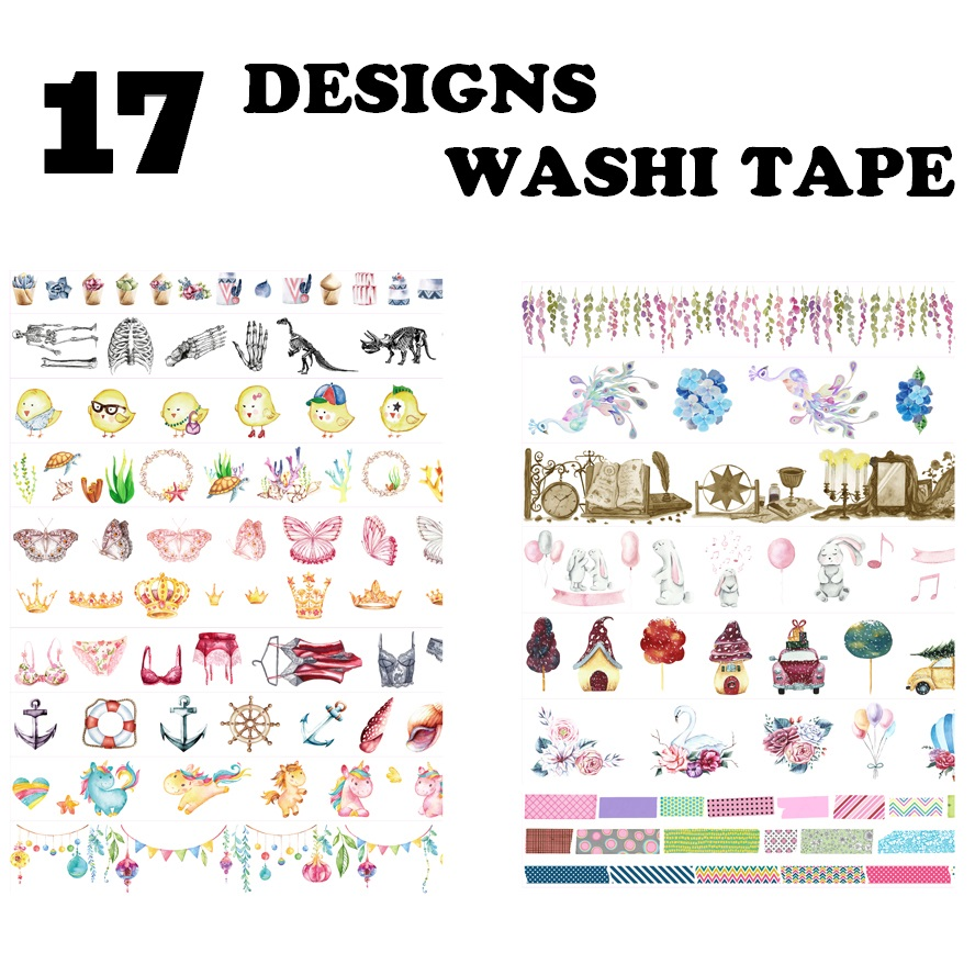 17Design NEW Flowers/Cake/Peacock/Dinosaurs/Sea creatures/Bras Japanese Washi Decorative Adhesive DIY Masking Paper Tape Sticker ultimate sticker book dangerous dinosaurs