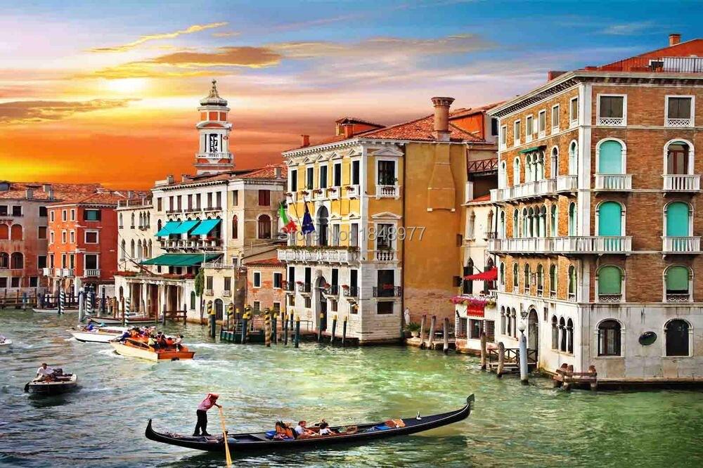 Italy Photo Wall Decor Venice Gondolas Grand C San Giorgio Textured Finish