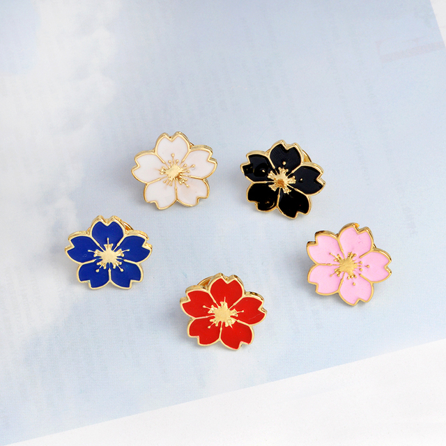 Metal enamel brooch cartoon flower pin button white black pink red metal enamel brooch cartoon flower pin button white black pink red blue jacket t shirt mightylinksfo