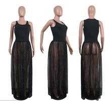 Женское шифоновое платье трапеция с коротким топом и прозрачными