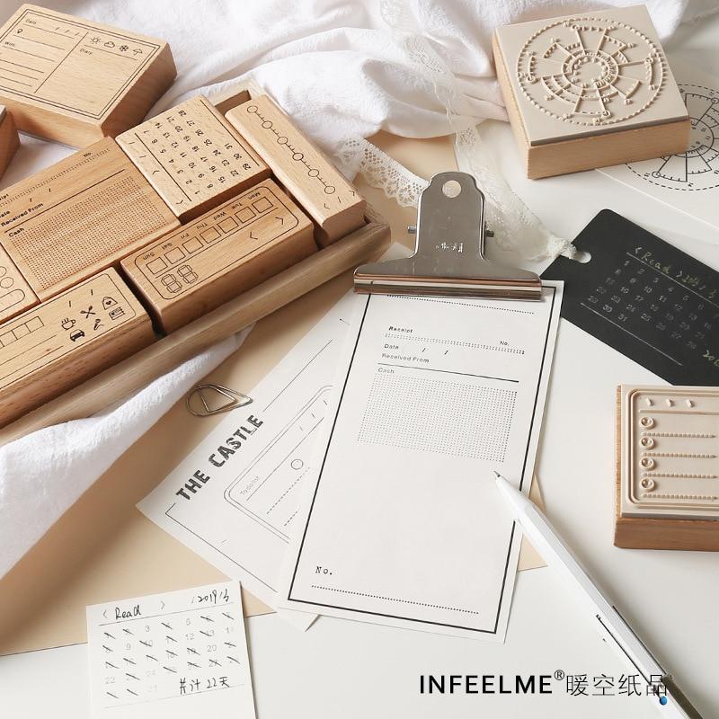 Vintage Check List Calendar Memo Time Planner Wooden Rubber Stamp Set For DIY Scrapbooking Card Decoration Embossing Craft