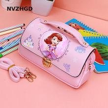New Cute Kawaii Pink Cartoon Princess Sophia Student Girl Stationery Portable Stationery Set Pu Waterproof Pencil