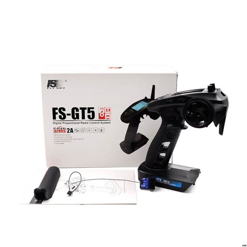 Flysky FS GT5 FS GT5 2.4G 6CH เครื่องส่งสัญญาณ FS BS6 ตัวรับสัญญาณในตัว Gyro Fail Safe สำหรับ RC รถเรือรีโมทคอนโทรล-ใน ชิ้นส่วนและอุปกรณ์เสริม จาก ของเล่นและงานอดิเรก บน   1