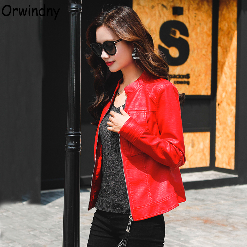 Orwindny Motorcycle   Leather   Jacket Women Spring Short   Leather   Coat O-Neck   Leather   Coat Outerwear Faux   Leather   Autumn Clothing