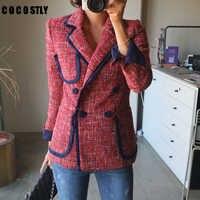 Veste de costume Double boutonnage femme femmes blazers et vestes décontracté Chic britannique gland Patchwork Tweed Blazers manteaux