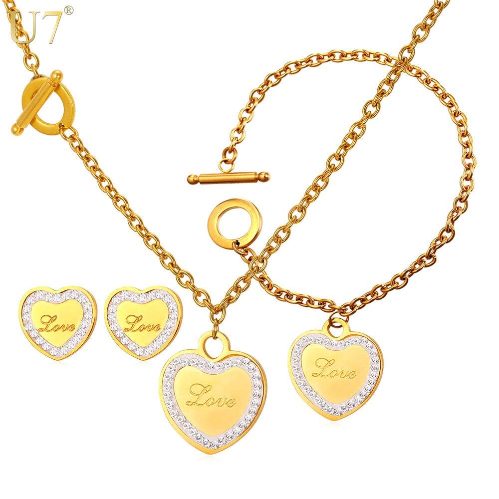 U7 novo conjunto colar de strass para as mulheres cadeia de alternância do presente do amor do coração da cor do ouro de aço inoxidável conjunto de jóias de casamento s833