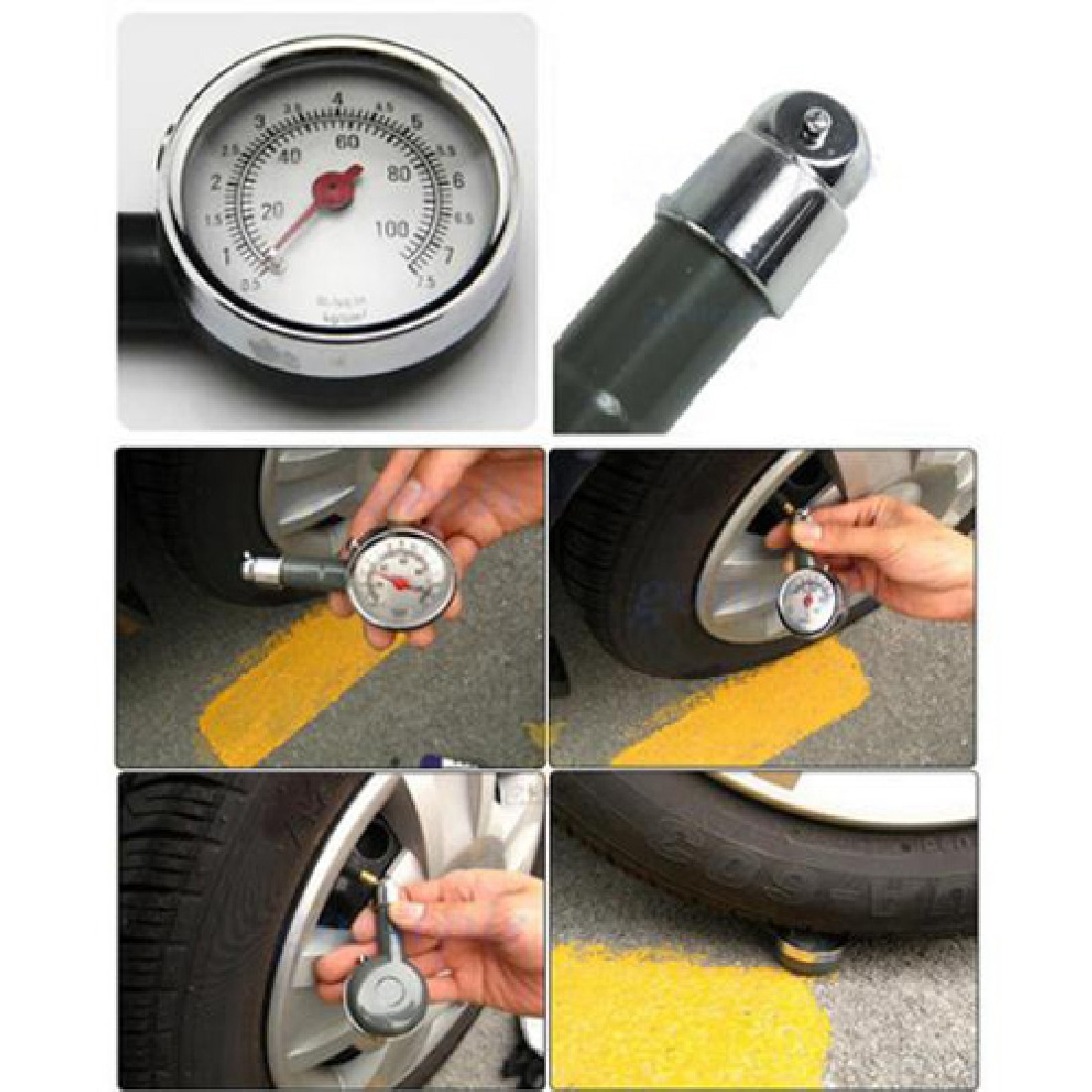 1pcs metal car tire pressure gauge auto air pressure meter tester diagnostic tool second hand. Black Bedroom Furniture Sets. Home Design Ideas