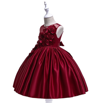 Flower Girl Dresses With Bow Zipper Up Applique Ball Gown First Communion Dress for Girls Customized