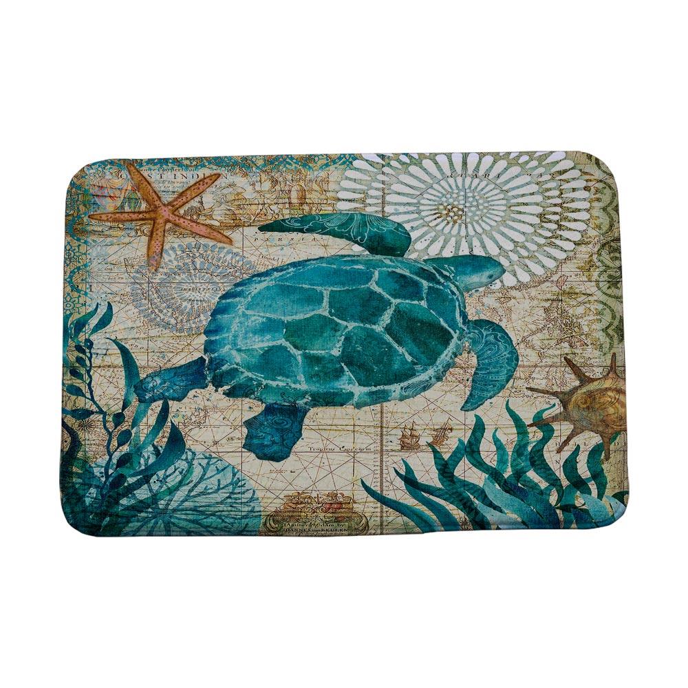 Miracille Marine Style Door Mat Floor Carpet for Living Room Sea Turtle Pattern Coral Fleece Rug Anti-Slip Doormat Drop shipping
