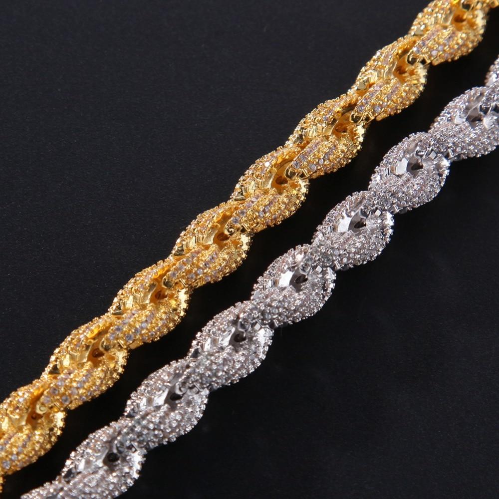 8mm cubique Zircon corde lien collier or argent plaqué luxe cuivre Micro pavé CZ chaîne cubaine 8 pouces - 5