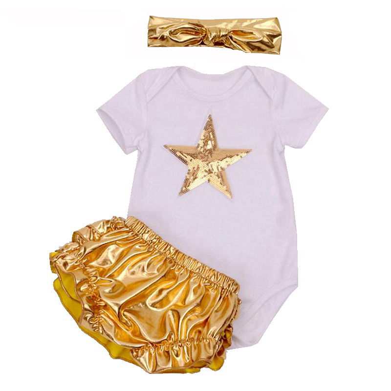 3Pcs Cute Newborn Infant Baby Girls Bodysuit Gold PP Pants Headband Outfit Clothes Set Summer Gold