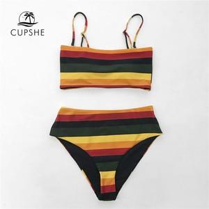 Image 3 - Cupshe黒と黄色のストライプ可逆ビキニセット女性のセクシーなバンドー二枚水着 2020 ガールビーチ水着