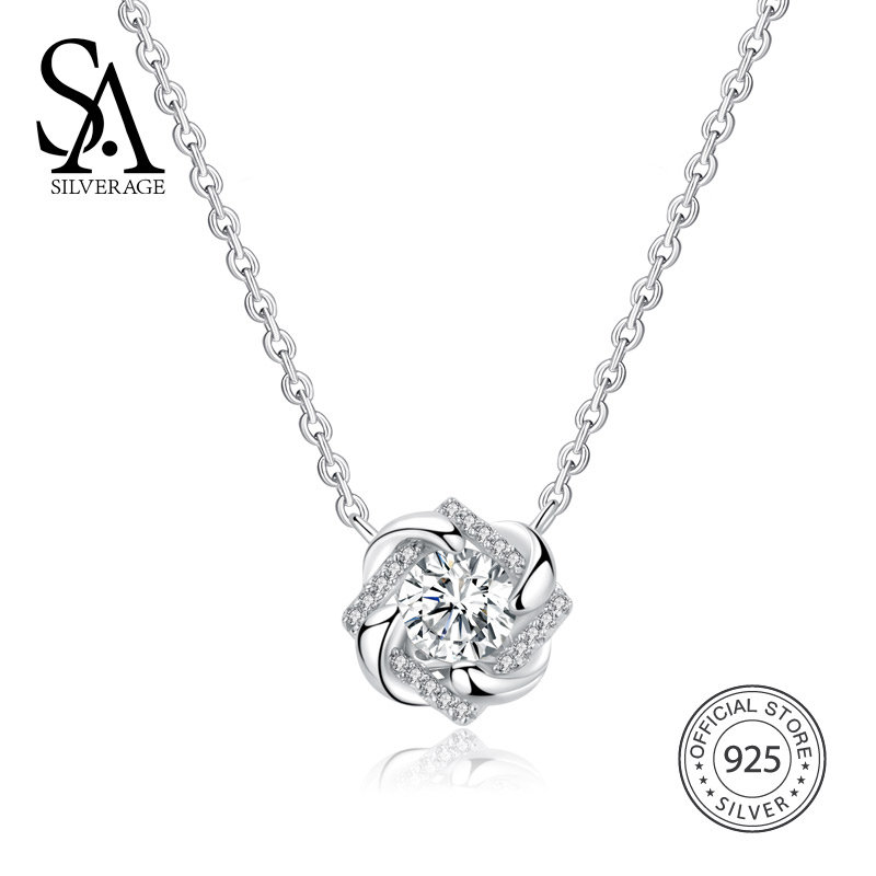 SA SILVERAGE 925 Sterling Silver Raindrop Chain Necklaces AAA Zirconia Star Necklaces For Woman 925 Silver Necklaces Choker sa silverage real 925 sterling silver crystal key necklaces pendants for women silver chain pendant necklaces wedding gifts