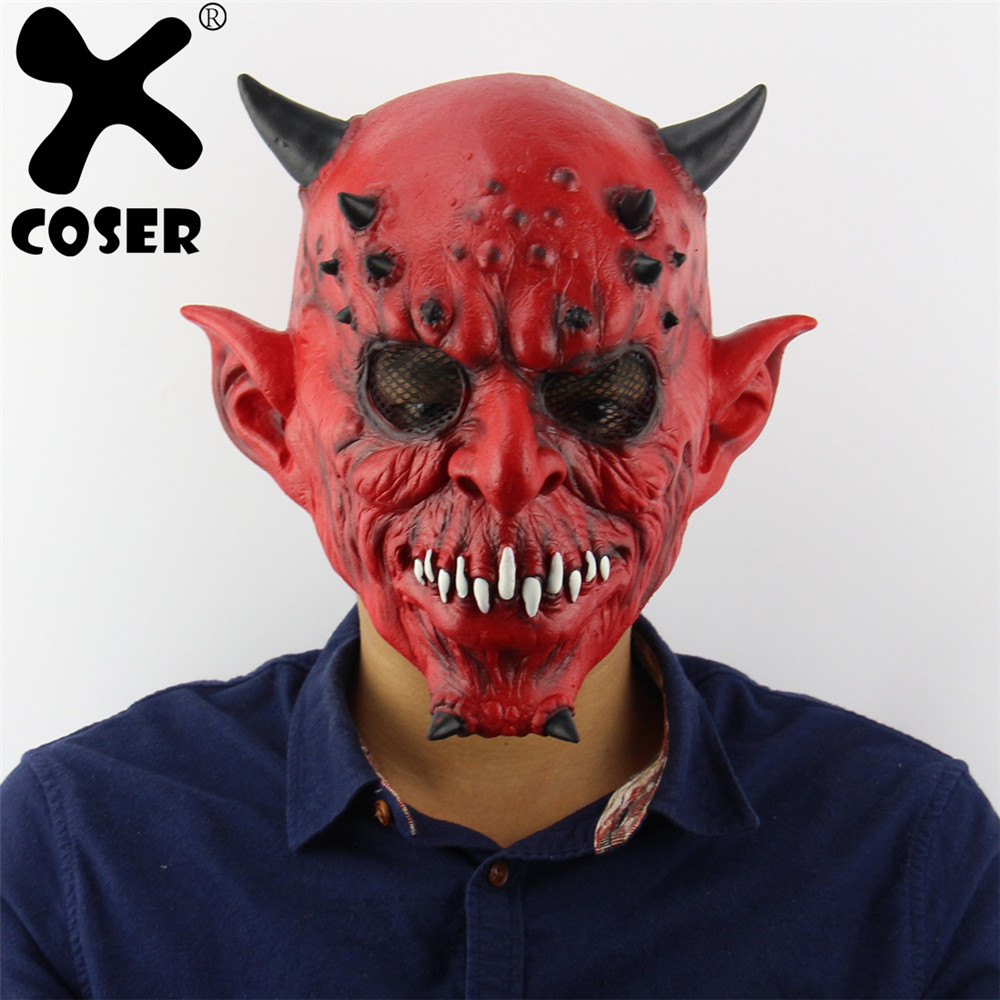 XCOSER Cheap Sale Hell Night Fork Horns Beasts Mask Balls Haunted House Bars Horror Ghost Head Latex Mask For Halloween Party