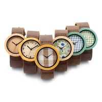 Hot Japan Movement Wood Wristwatches Colorful Bamboo Wood Watches Wholesale Clock