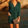 Женская мода С Длинным Рукавом Dress Lady Глубокий V Шеи Упругой талия Туника Случайные Свободные Весна Осень Мини Рубашка Dress Vestidos CL2343