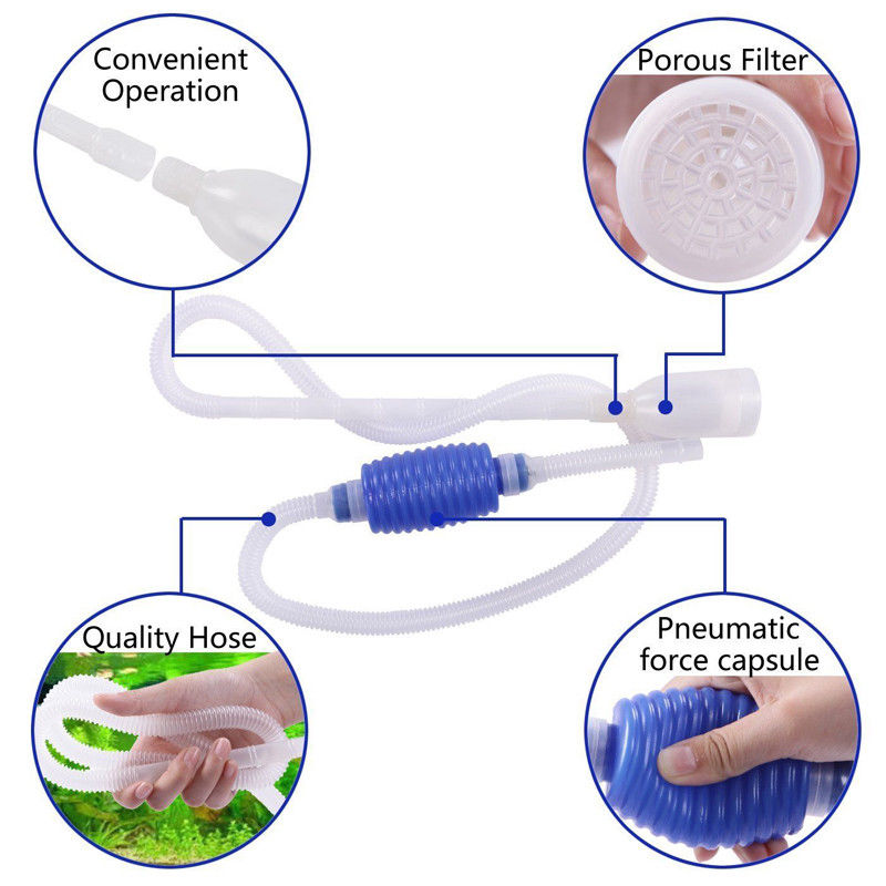 Aquarium Automatic Siphon Brush Cleaner Multi Function Fish Tank Gravel Cleaner Easy To Lubricate Cleaning & Maintenance Pet Supplies