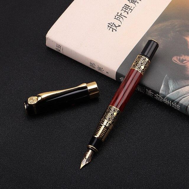 1pcs di Alta qualità classica penna stilografica in legno grano di alta qualità di affari della penna del metallo penna stilografica firma 2