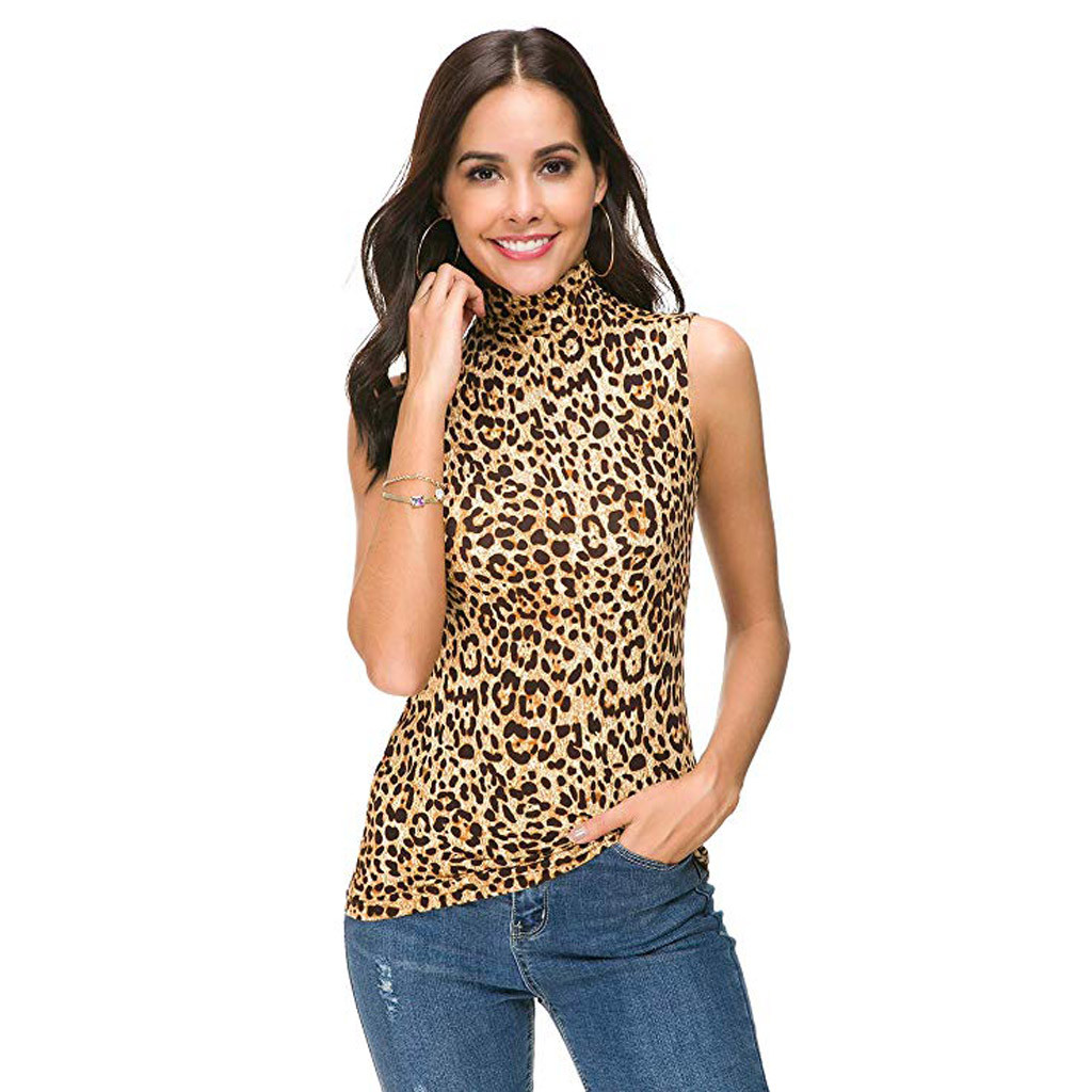 4fb41328d11 Sexy womens Leopard Top Summer Style Womens Sleeveless Printed Slim Fit  Turtleneck Tee Top Blouse blusas