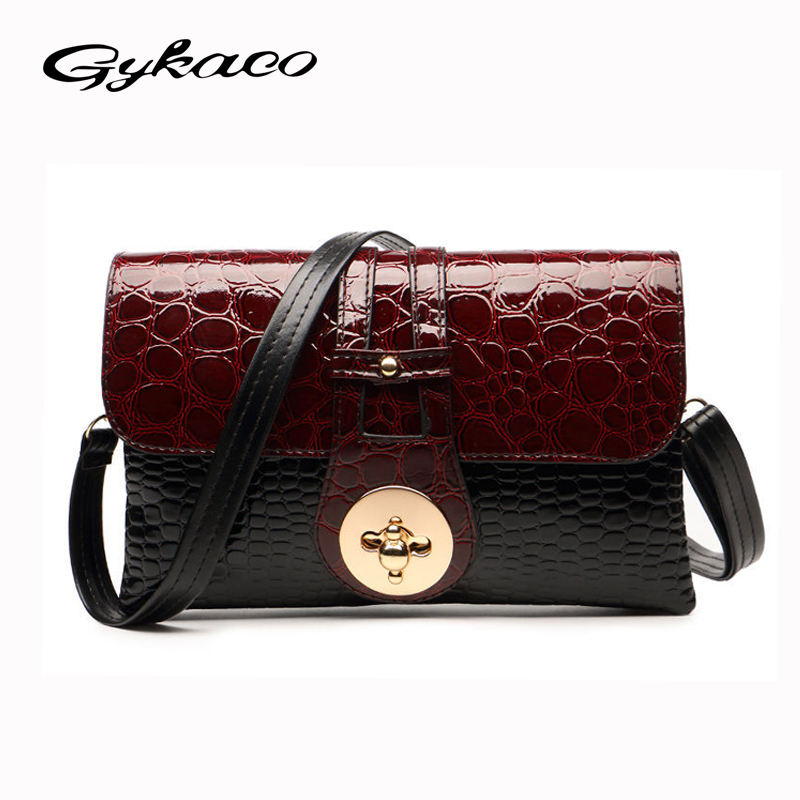New 2017 Patent Leather Crocodile Women Messenger Bags Ladies Crossbody Shoulder Bags For Women Casual Bag Ladies Sac A Main woman in the summer of 2016 youth popular color patent leather crocodile pillow boston crossbody bag business mini pochette