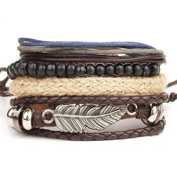 Vintage Multilayer Leather Bracelet for Men Bracelets Jewelry Men Jewelry New Arrivals Metal Color: BJDY100