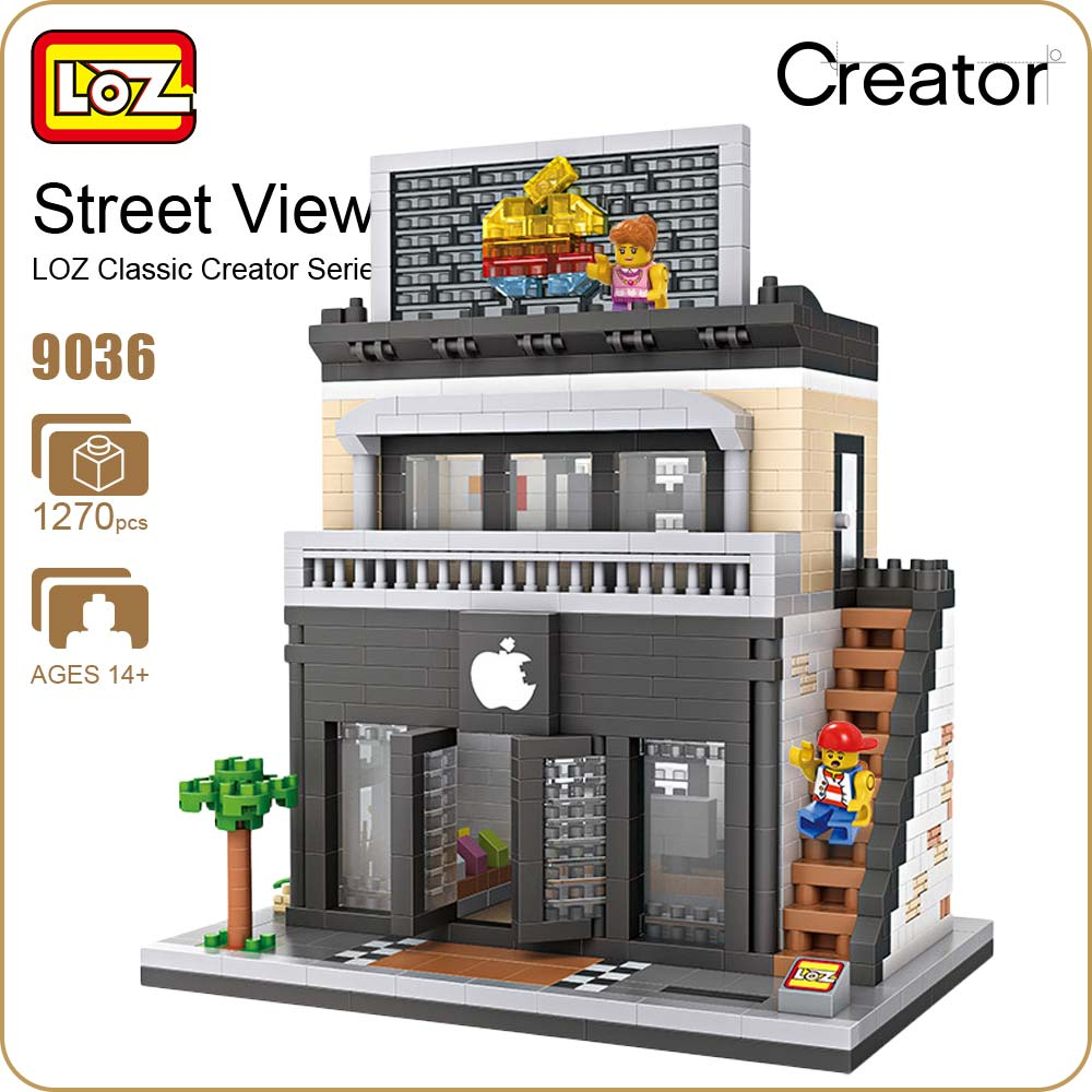 LOZ Diamond Block Street Mini Nano Building Blocks Toys For Children Shop Model Mobile Phone Shop Mini City Bricks Building 9036 loz diamond blocks figuras classic anime figures toys captain football player blocks i block fun toys ideas nano bricks 9548