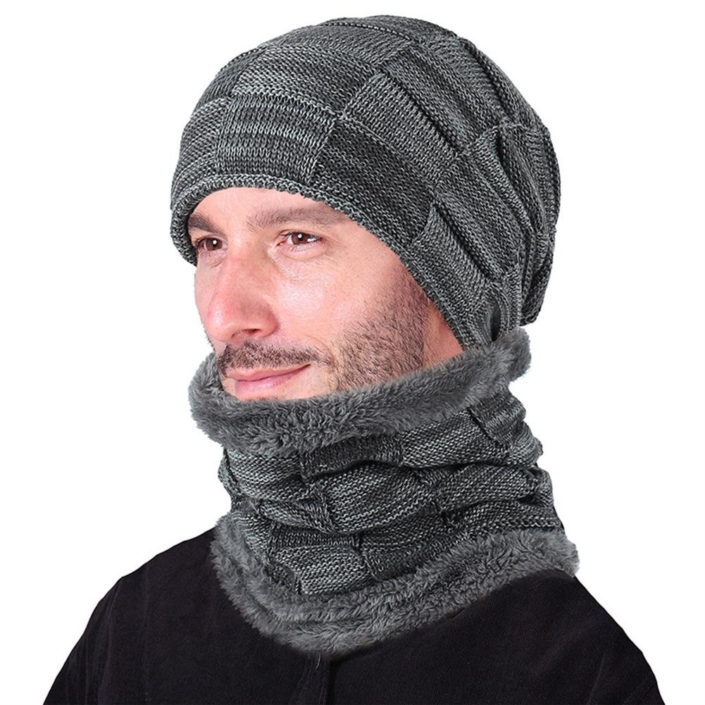 ZACOO 2PCS/Set Men/Women Warm Check Knitted Hat + Neck Gaiter Fashionable Neck-Warmer Cap Suit San0