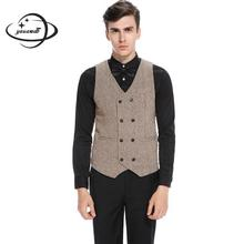 Yauamdb мужские костюмные жилеты весна осень S-2XL хлопковый блейзер из полиестера одежда жилет тонкий консервативный стиль мужская верхняя одежда 59
