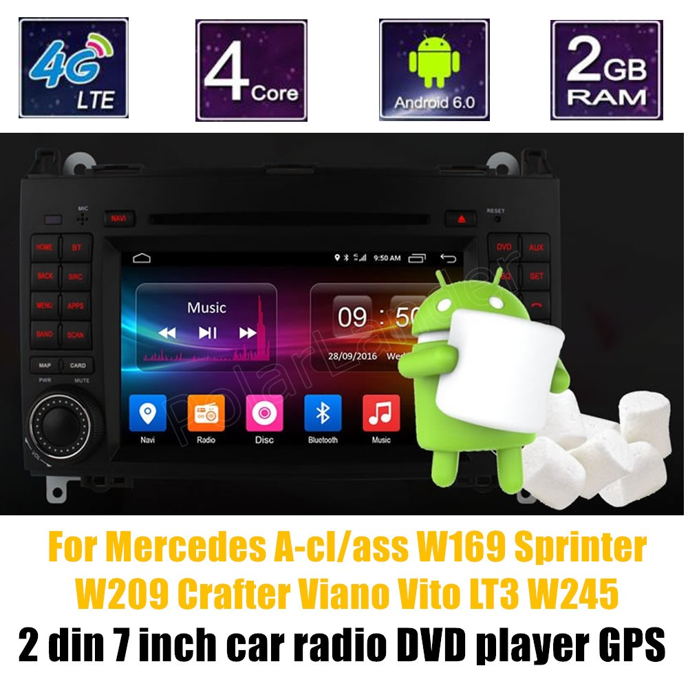 Bluetooth Android 6.0 Auto DVD-Player Radio GPS WIFI Fü<font><b>r</b></font> N-ENZ A-cl/ass W169 Sprinter W209 <font><b>Crafter</b></font> Viano Vito LT3 W245 image