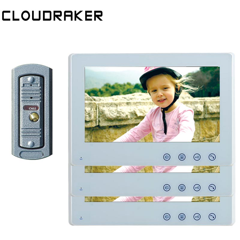 CLOUDRAKER10 Big Screen Video Intercom System 3x Monitor with 1x Pinho Wired Video Door Phone Camera IR UnlockCLOUDRAKER10 Big Screen Video Intercom System 3x Monitor with 1x Pinho Wired Video Door Phone Camera IR Unlock