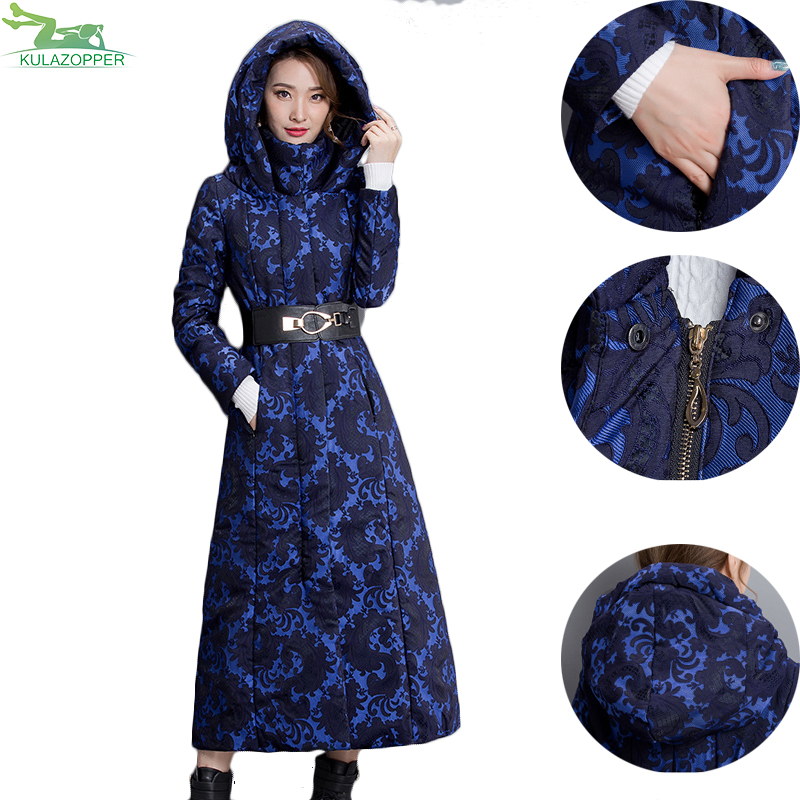 Plus size women winter long jacket 2017 new print parka coat fahion elegant hooded thick warm femme outwear top clothes QW658 geckoistail 2017 new fashional women jacket thick hooded outwear medium long style warm winter coat women plus size parkas