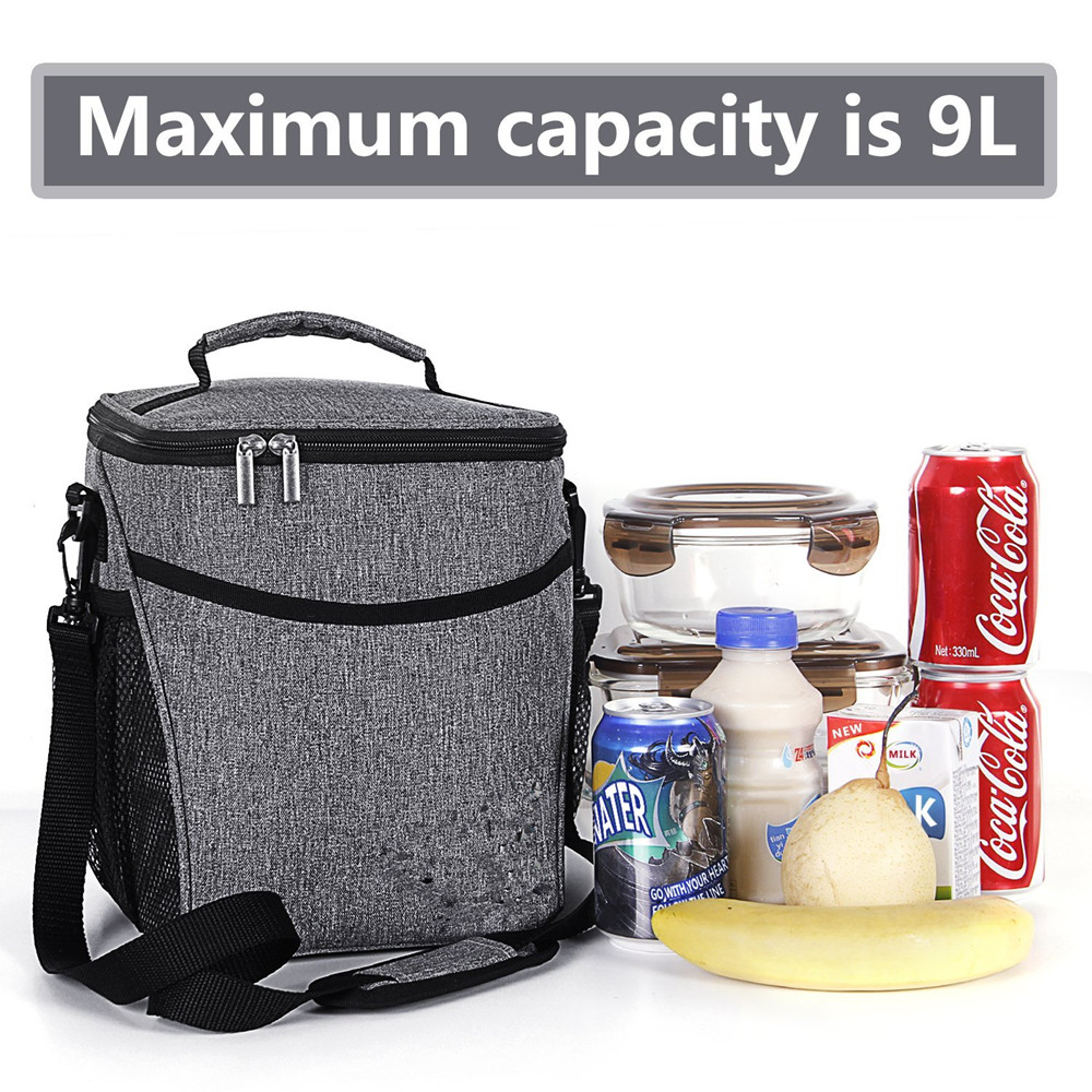 Insulated Lunch Box for Men / Women / Kids, Large Capacity Thermal Bento Bag for Office / School / Picnic, 9L, Grey