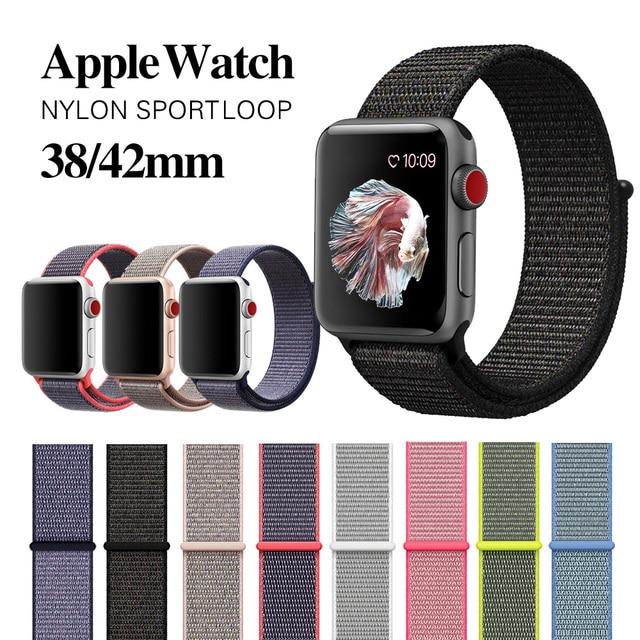 MU סן ארוג ניילון להקת רצועת עבור apple watch להקת 42mm 38mm ספורט בד ניילון צמיד רצועת השעון עבור iwatch 3/2/1 שחור