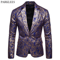Trend Royal Blue Paisley Foil Print Suit Blazer Men Slim Fit One Button Blazer Jacket Men DJ Prom Stage Singer Blazer Hombre 3XL