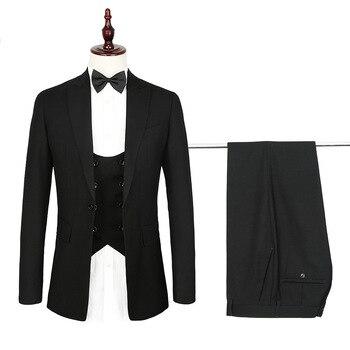 Black elegant gentleman men's suit men's business formal suit three-piece suit (coat + pants + vest) wedding groom groomsmen dre