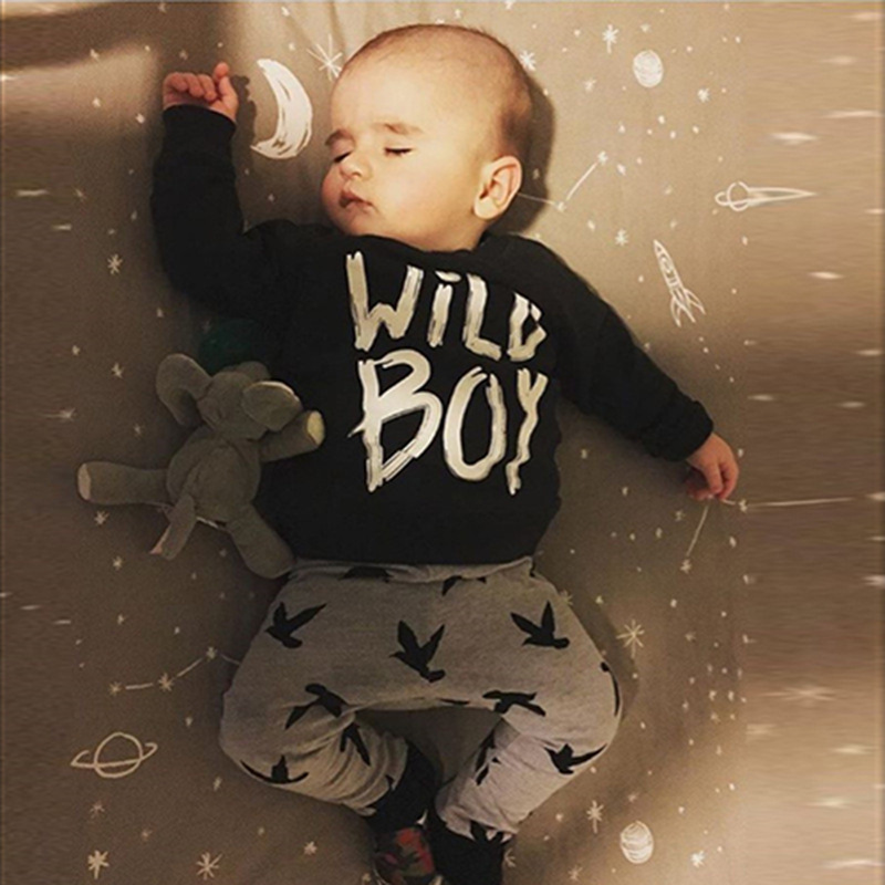 New 2018 autumn baby boy clothes newborn fashion black long-sleeved letter t-shirt+ stripe pants infant suit baby clothing sets