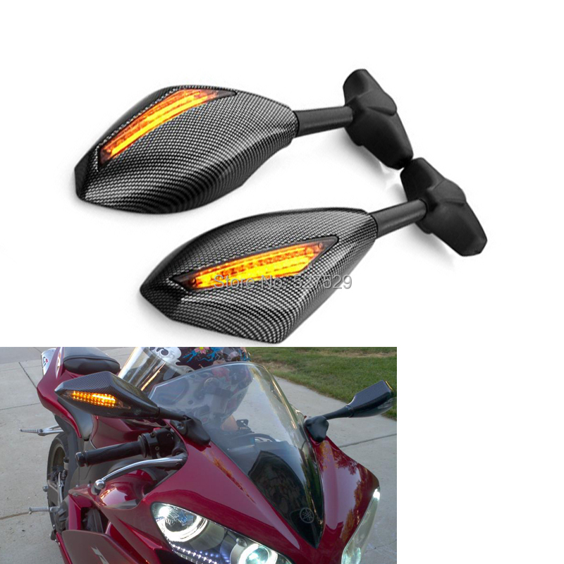 2PCS Motorcycle <font><b>LED</b></font> Turn Signals Integrated Mirrors for <font><b>SUZUKI</b></font> GSX-R <font><b>GSXR</b></font> 1000 <font><b>750</b></font> K6 K7 K8 K9 image