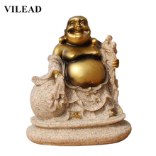 VILEAD 3.5 Nature Sandstone Maitreya Buddha Statues Religious Laughing Figurines Creative Ornaments For Home Store Gift