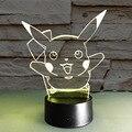 Ilusión pikachu 7 que cambia de color led luz de la noche llevó la lámpara de mesa como iy803313 novelty nightlight iluminación niño niños juguetes de regalo