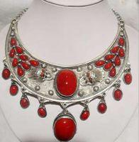 3275 pretty tibet inlay coral jewlery necklace