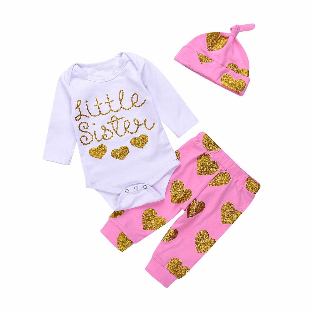 Adorable Newest Fashion Cotton Little Sister Long Sleeve Newborn Baby Girls Romper Top Long Pants Hat Outfits ship from USA