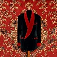 2018 New Designs Smoking Jacket Black Red Velvet Suits Men Slim Fit Shawl Lapel Blazer For Dinner Tuxedo Custom 2 Piece Terno