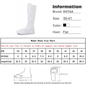 Image 5 - Sexy schlanke Schuhe für Frauen 2020 flache Plattform Frau Mid Calf Stiefel Plus Size Reißverschluss Schnürung Leinwand High Top weibliche weiße Schuhe