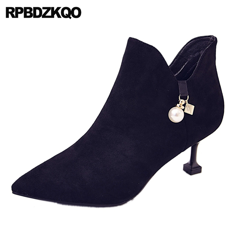Stiletto Autumn Pointed Toe Black Fashion Shoes 2017 Metal Booties Pearl Ankle Fall Women Boots Winter Suede Female Chinese autumn flat women shoes fall british front lace up casual ankle boots suede square toe booties round female khaki new ladies